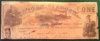 1862 Cotton Pledged State Of Mississippi One - Dollar Note photo