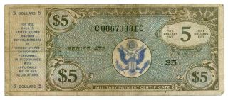 $5 Military Payment Certificates Series 472 photo
