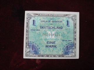 1944 Germany 1 Mark Allied Military Currency Scwpm 192a Vf+ photo