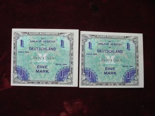 2 Consecutive 1944 Germany 1 Mark Allied Military Currency Uncirculated photo