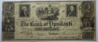 Obsolete 1837 $2.  00 Rare The Bank Of Ypsilanti - photo