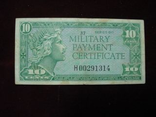 Military Payment Certificate 10 Cents Series 611,  Replacement Note Fine - Vf photo