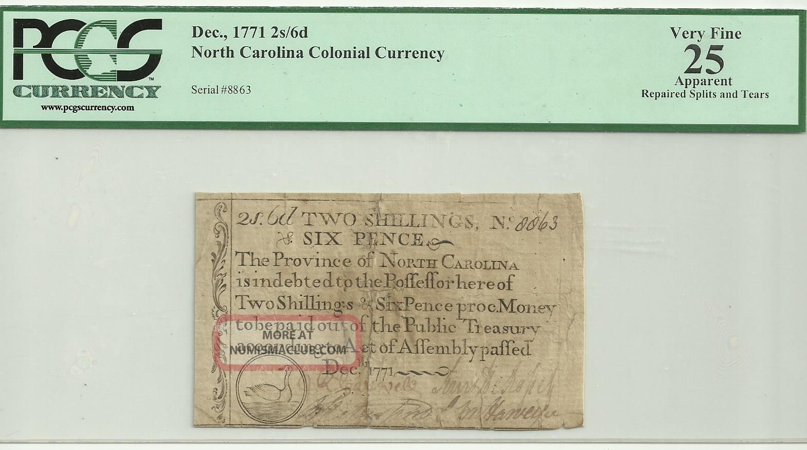 Colonial Currency - North Carolina Pcgs Vf25 Apparent