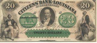 Louisiana Citizens Bank Shreveport $20 18xx Not Signed/issued Green Overprint photo