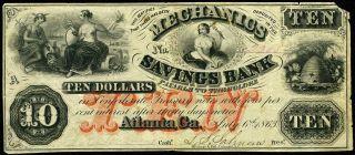$10 1863 Mechanics Savings Bank Note,  Atlanta Georgia,  Red Ten - Civil War Date photo