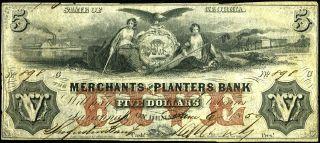 $5 1859 Merchants & Planters Bank Note,  Savannah Georgia,  Train & Steamboat photo