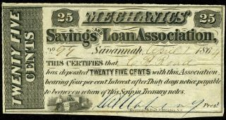 25c 1864 Mechanics ' Savings & Loan Note,  Savannah Georgia - Civil War Date photo