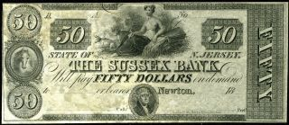 $50 18__ The Sussex Bank,  Newton Nj Obsolete Note,  Crisp Uncirculated photo
