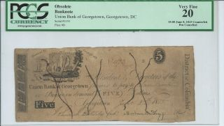 Rare Obsolete Currency Dc Union Bank Georgetown $5 Issued 1815 Vf20 Pen Cnl 1193 photo