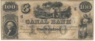 Obsolete Currency Louisana Orleans Canal Bank $100 18xx Unissued Plate C Cu photo