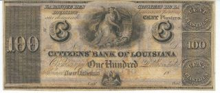 Obsolete Currency Louisiana Orleans Citizens Bank $100 Note 18xx Chcu photo