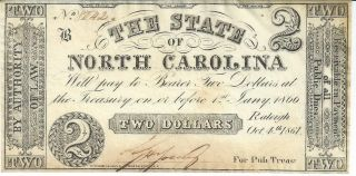 Obsolete Currency State Of North Carolina $2 1861/issued Au Cr22 8042 Plate B photo