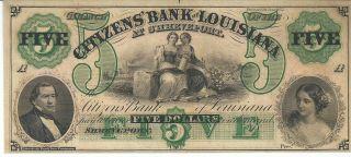Obsolete Currency Louisiana Shreveport Citizens Bank $5 Note 18xx Chcu G62a photo