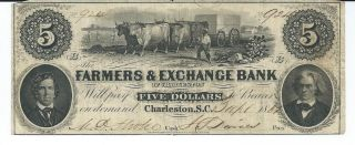 Obsolete Currency S.  Carolina/ Charleston Farmers Bank $5 1861 Issued Vf 924 photo