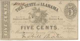 Obsolete Currency Alabama Montgomery.  05 Cent Issued 1863 Cr11 Unc 25092 photo