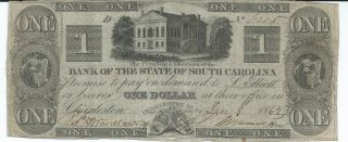 Obsolete Currency S.  Carolina/ Charleston Bank Of The State $1 1862 Vf 6215 photo