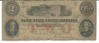 Obsolete Currency S.  Carolina/ Charleston Bank Of The State $2 1861 Cut/cnl 598 photo