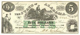 1864 $5 State Of Alabama,  13242 Unc+ Civil War Era History photo