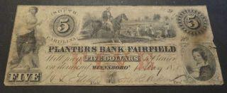 1850 The Planters Bank Of Fairfield Winnsboro Sc.  Five Dollars Obsolete Currency photo