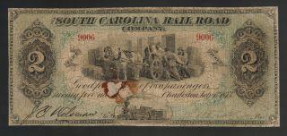 $2 South Carolina Rail Road Company Charleston Sc Green Rr Old Paper Money Note photo