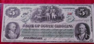 1873 State Of South Carolina 5 Dollar Obsolete Bank Note W/t Bank X photo