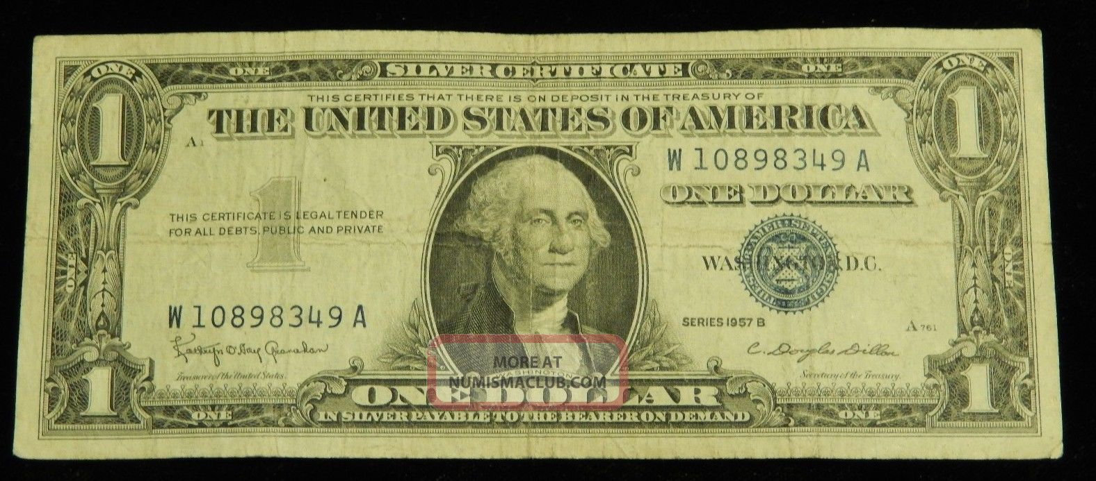 1 Silver Certificate 1957 Washington Currency Bill Old Rare Paper