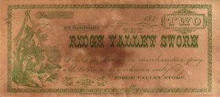 1870 ' S $2.  00 Ridge Valley Store Georgia Obsolete Note photo