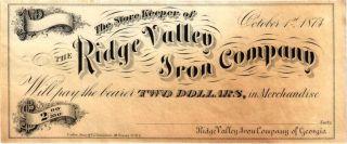 1873 $2.  00 Ridge Valley Iron Co Georgia Obsolete Note photo