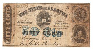 50¢ 1863 Montgomery Alabama Csa Old Confederate Obsolete Note Rebel Dixie Bill photo