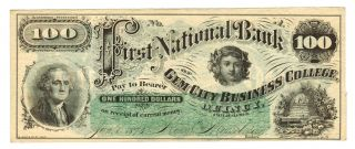 First National Bank Gem City Business College Quincy Illinois $100 1873 Pt photo