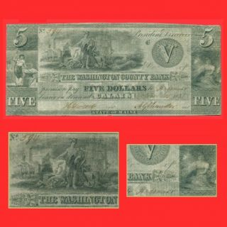 State Of Maine Washington County Bank 1835 $5 Calais Obsolete Old Currency Money photo