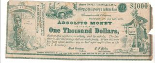 1880 Political Absolute Money,  One Thousand Dollars,  Redeemable Nowhere photo