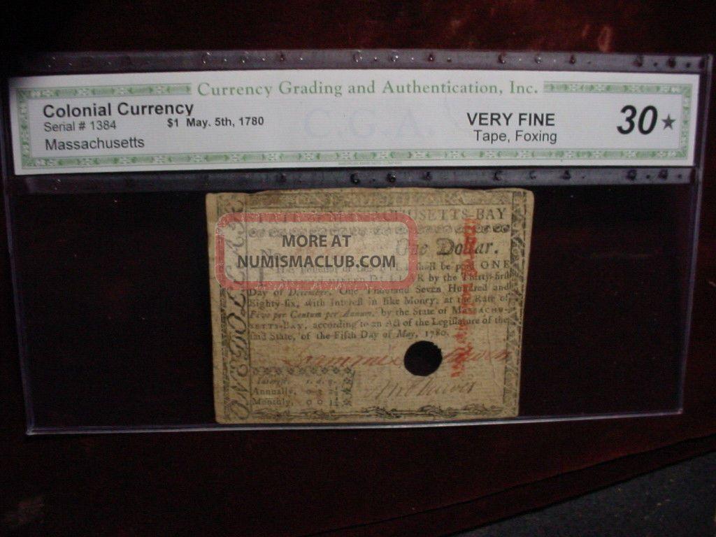 May,  5 1780 Massachusetts $1 Dollars Fr - Ma - 278 Cga Very Fine 30 Paper Money: US photo