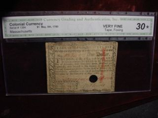 May,  5 1780 Massachusetts $1 Dollars Fr - Ma - 278 Cga Very Fine 30 photo