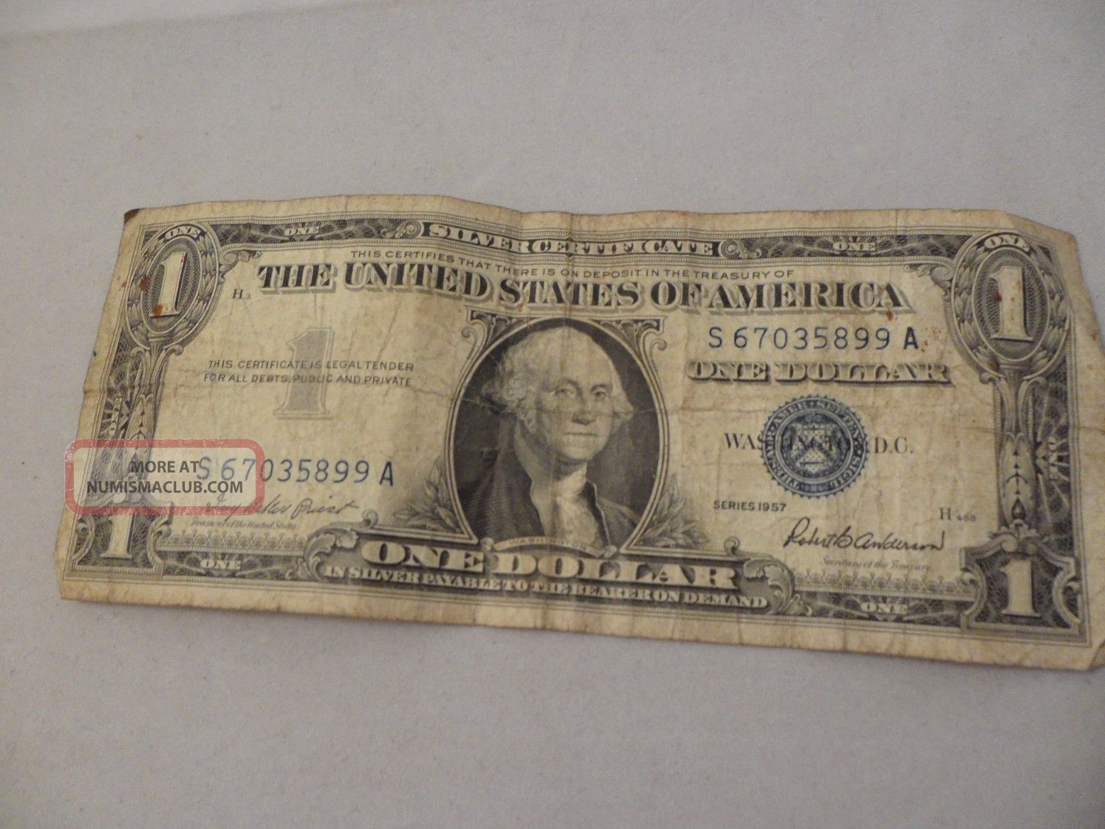 Find 1957 Silver Certificate One Dollar Bill Value
