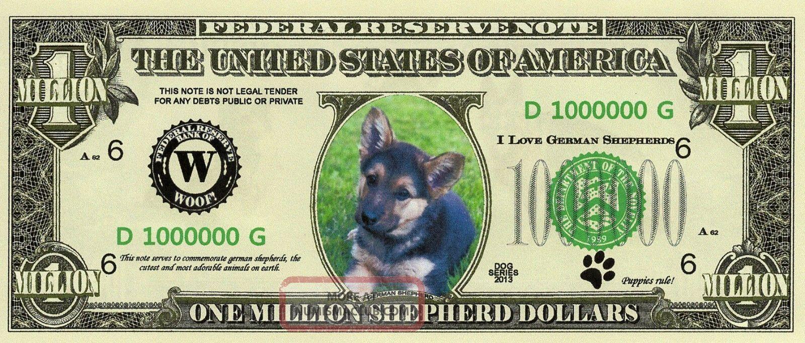 German Shepherd Puppy Dog Novelty 1 Million Dollar Bills Pet Animal Lover Money Paper