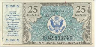 Mpc Series 472 Military Payment Certificate 25 Cents Chcu 1948 Currency 574c photo