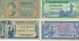 Military Payment Certificates Mpc Various Series 5c (2) 10c 25c Vf To Xf Nr photo