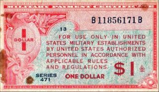 United States 1 Dollar Military Currency Series 471 Pick M12 Vf+ Stain photo
