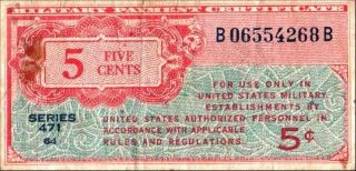 United States 5 Cents Military Currency Series 471 Pick M8 F+ photo