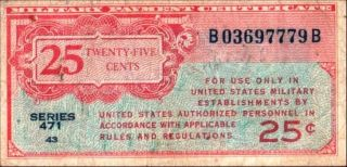 United States 25 Cents Military Currency Series 471 Pick M10 F+ photo