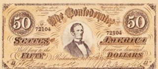 Reproduction Confederate 50 Dollar Bill,  1864 Richmond,  Produced 1960 - 65 photo