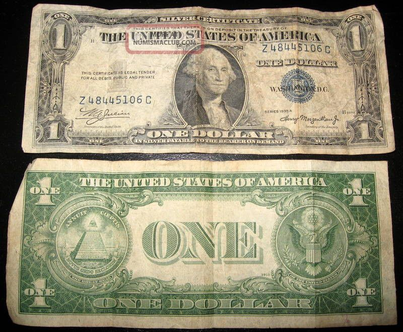 1$ Silver Certificate 1935 A Front Separated From Back Well - Circulated Small Size Notes photo