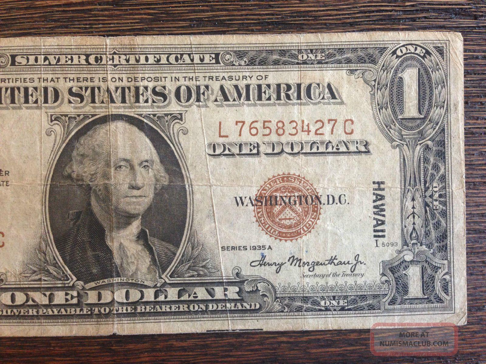 dollar certificate silver hawaii 1935 note emergency