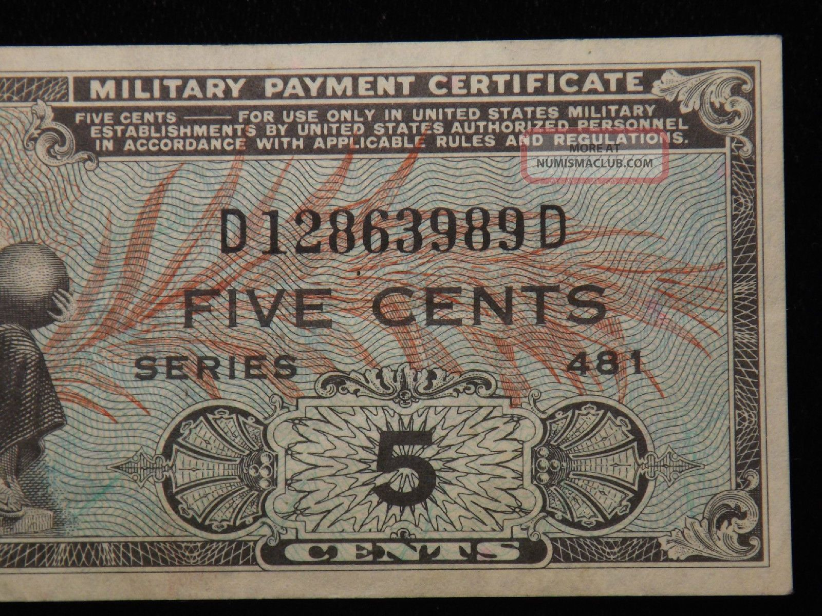 Series 481 5 Cent Military Payment Certificate Au