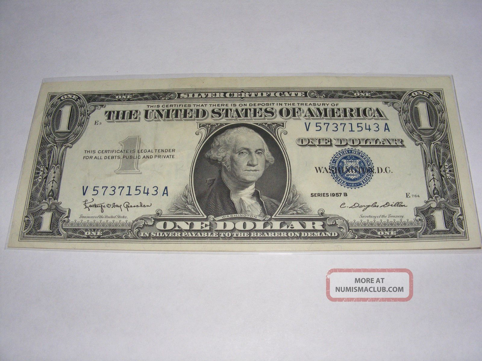 1957 B $1 Silver Certificate Uncirculated (- Crisp) V 57371543 A Small Size Notes photo