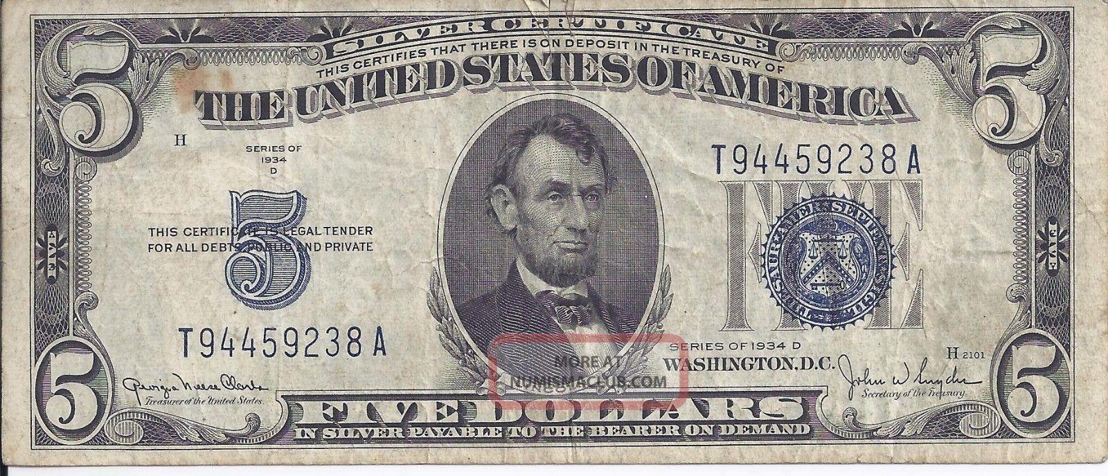 dollar certificate 1934 five snyder clark mirror mask