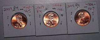2009 Lincoln Cent Fy Errors Double Die Wddr - 065b,  Wddr - 066a & Wddr - 067b (1) Each photo