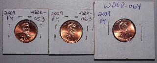 2009 Lincoln Cent Fy Errors Double Die Wddr - 053u,  Wddr - 063u & Wddr - 064b (1) Each photo
