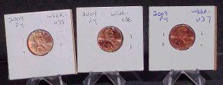 2009 Lincoln Cent Fy Errors Double Die Wddr - 035b,  Wddr - 036b & Wddr - 037a (1) Each photo